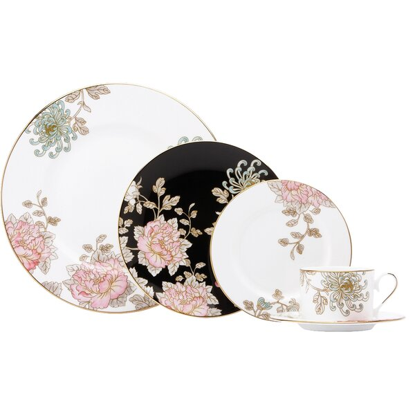 Painted Camellia 5 Piece Place Setting, Service for 1 by Marchesa by Lenox