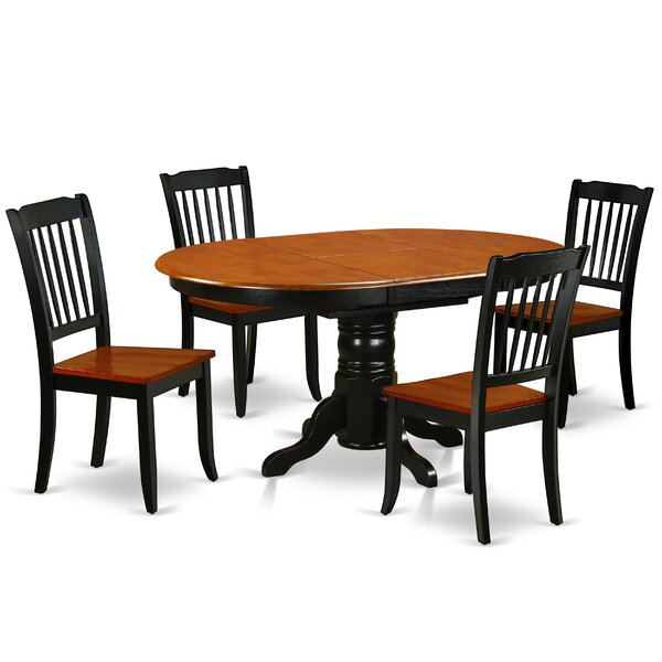 Kyser 5 Piece Extendable Solid Wood Dining Set by August Grove