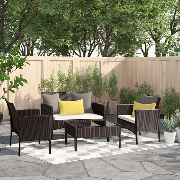 Alirah 4 Piece Rattan Sofa Seating Group with Cushions by Latitude Run