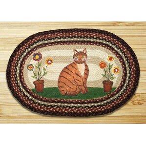 Folk Art Cat Printed Area Rug