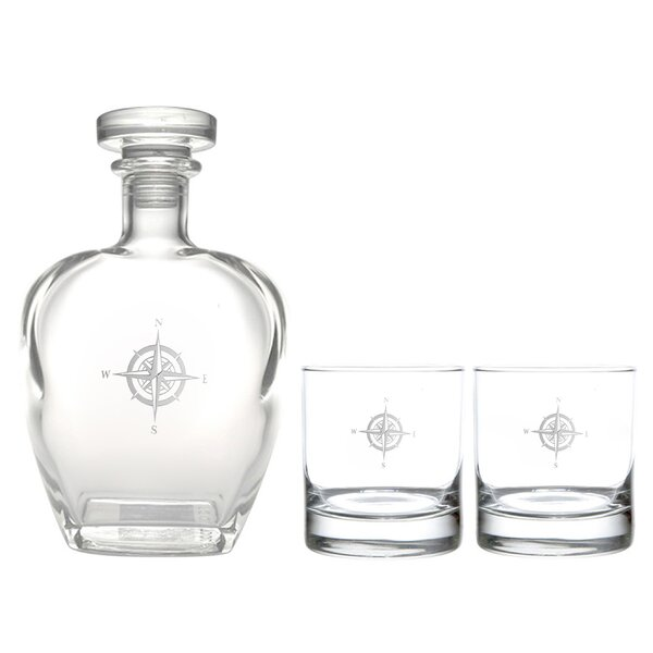 Compass Rose Whiskey 3-Piece Decanter Set by Rolf Glass