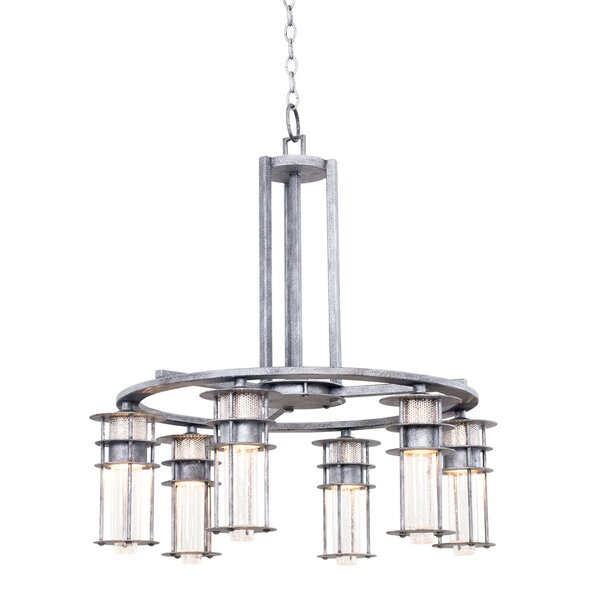 Anchorage 6 - Light Shaded Wagon Wheel Chandelier by Kalco Kalco