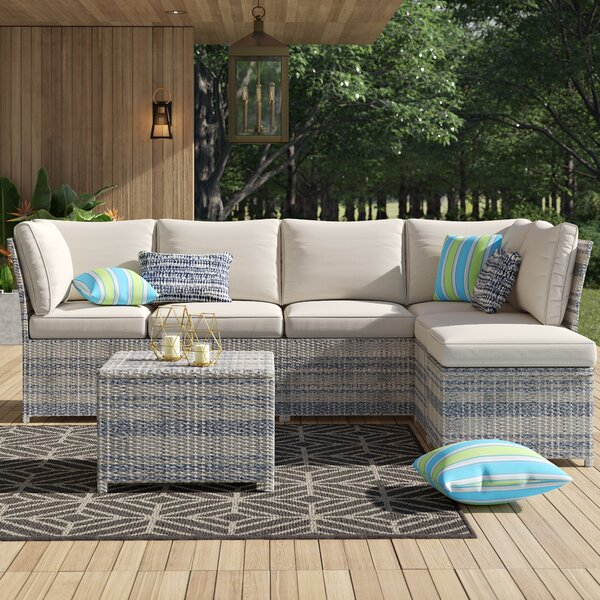 Denzer 7 Piece Rattan Seating Group with Cushions by Mercury Row