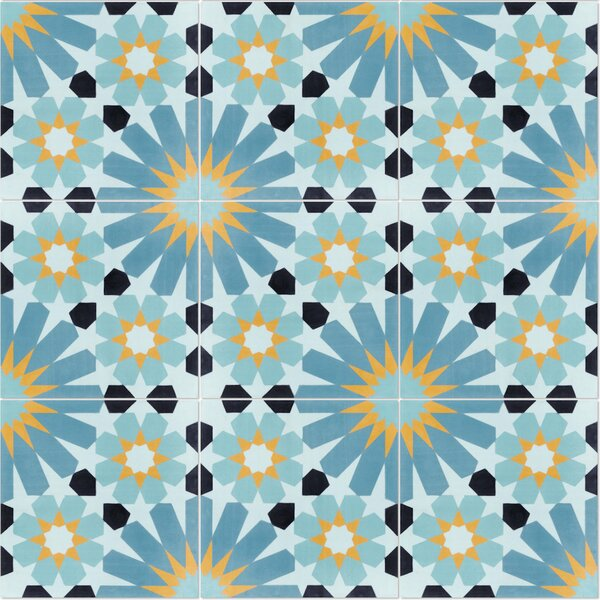 Tangier Primero 8 x 8 Cement Field Tile in Blue/Yellow by Villa Lagoon Tile