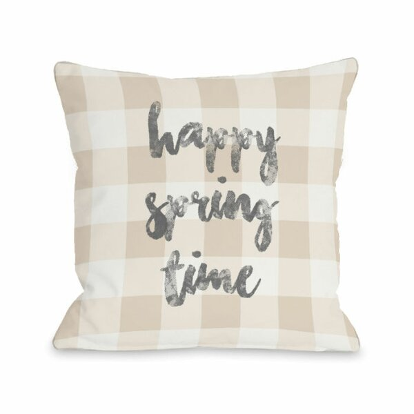 Happy Spring Time Plaid Throw Pillow by One Bella Casa