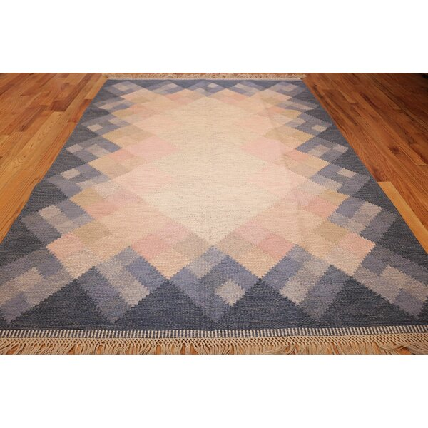One-of-a-Kind Swedish Hand-Knotted 1950s Swedish Blue 6'6 x 9'3 Wool Area Rug