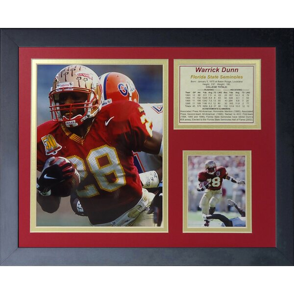 Warrick Dunn - Florida State Framed Memorabilia by Legends Never Die