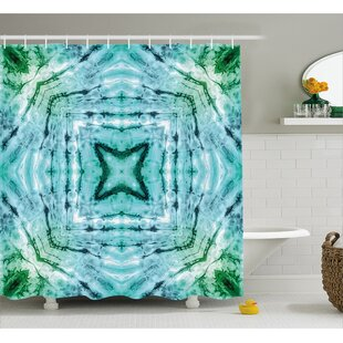 Star Inside Square Tie Dye Decor Shower Curtain