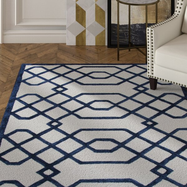 Davinia Hand-Tufted Off-White/Black Area Rug by Mercer41