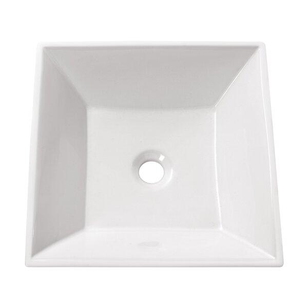 Ceramic Square Vessel Bathroom Sink by Avanity