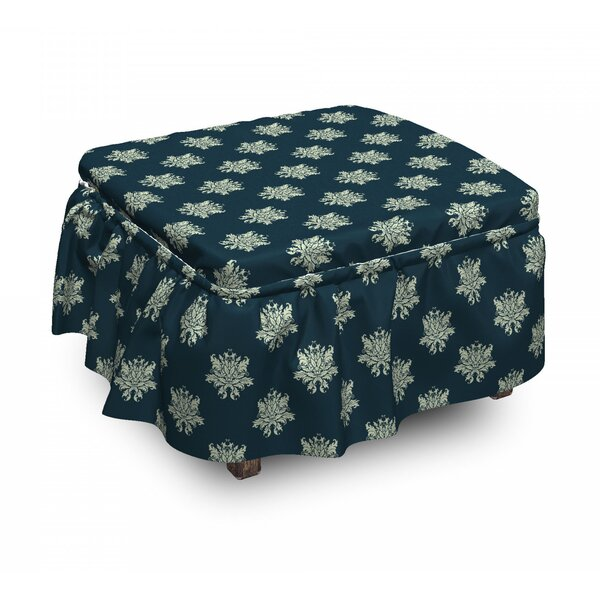 Damask Swirls Leaves Ottoman Slipcover (Set Of 2) By East Urban Home