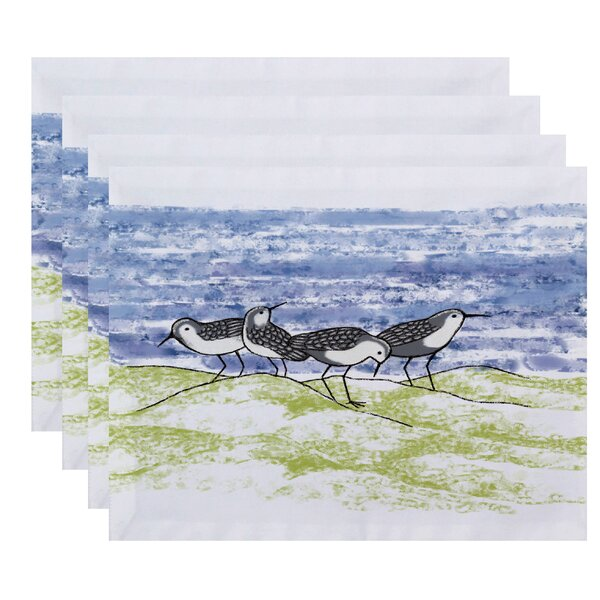 Oakley Sandpipers Animal Print Placemat (Set of 4) by Rosecliff Heights