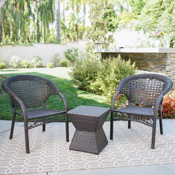 Rotem 3 Piece Rattan Seating Group by Ophelia & Co.