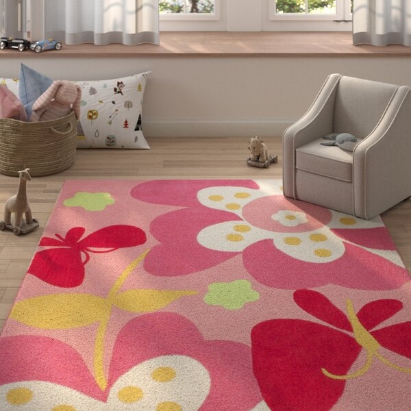 Roxana Baby Pink Area Rug by Zoomie Kids