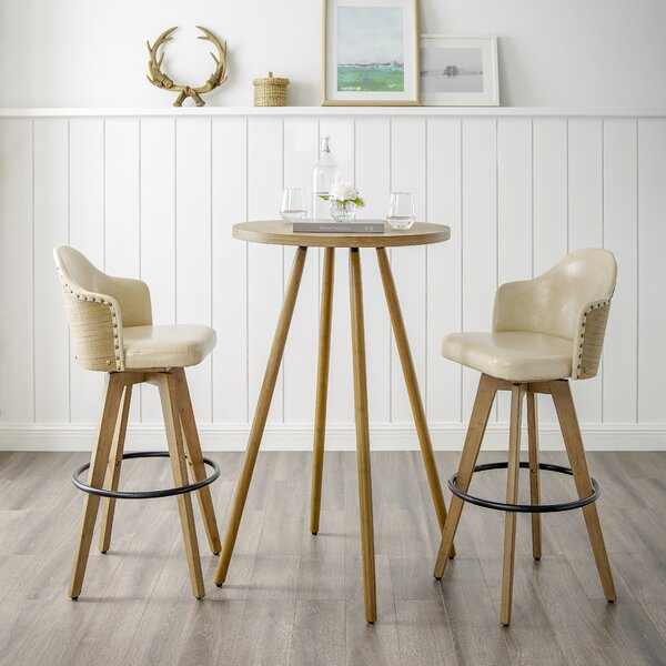 Lindeman Bamboo Swivel 3 Piece Pub Table Set by Union Rustic