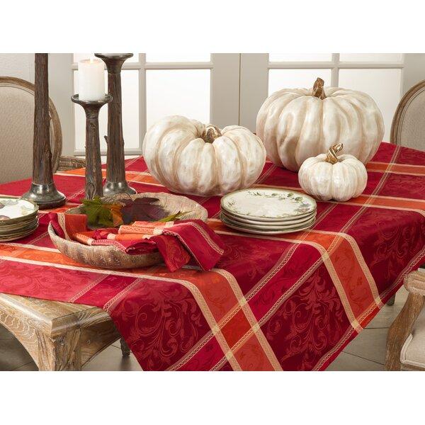 Pumpkin Plaid Tablecloth by Saro