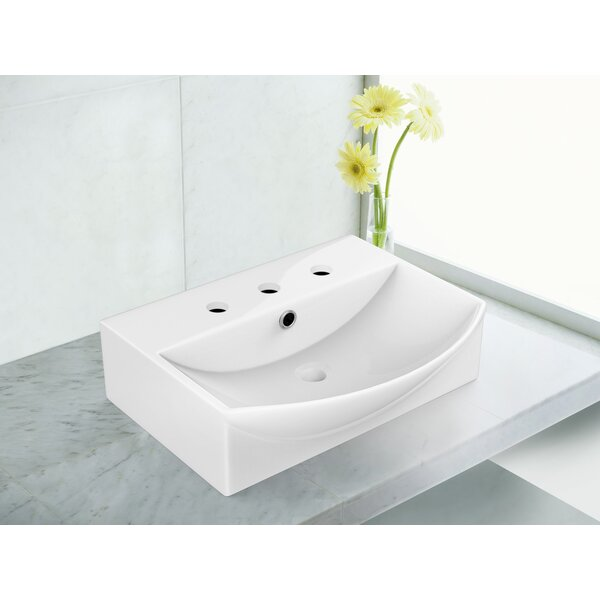 Above Counter Ceramic Specialty Vessel Bathroom Sink with Faucet and Overflow