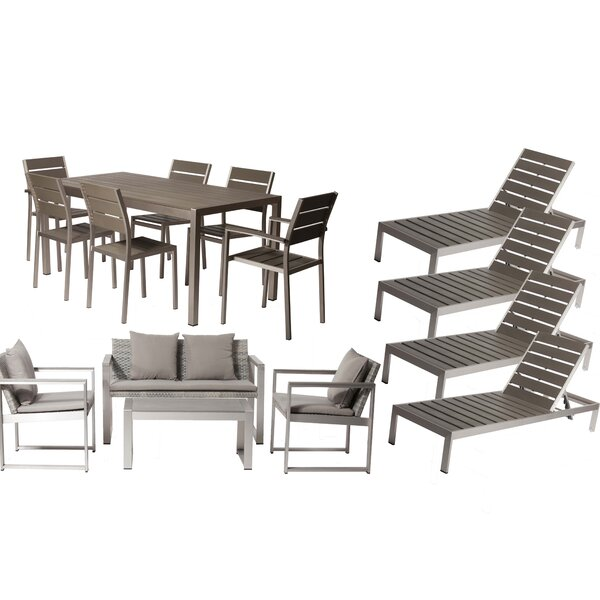 Carrell 15 Piece Rattan Conversation Set with Cushion by Orren Ellis