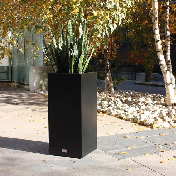 Metallic Series Pedestal Galvanized Steel Pot Planter by Veradek