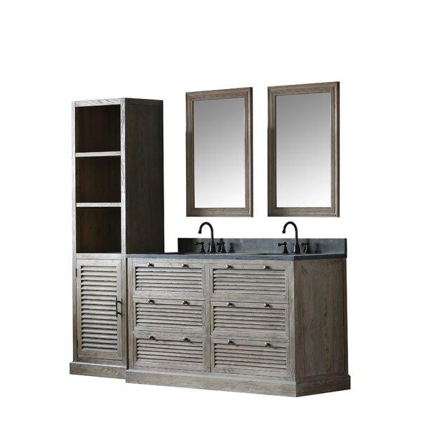 Solid Elm 61 Double Bathroom Vanity Set with Mirror