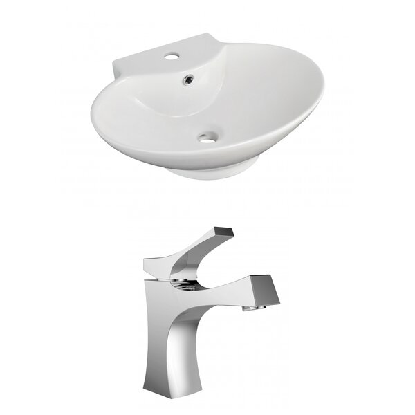 Above Counter Ceramic Oval Vessel Bathroom Sink with Faucet and Overflow