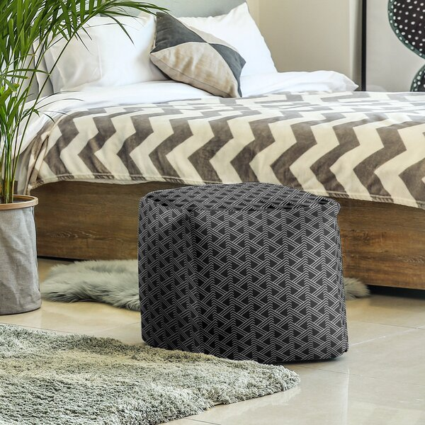 Full Color Zig Zag Pattern Cube Ottoman by East Urban Home