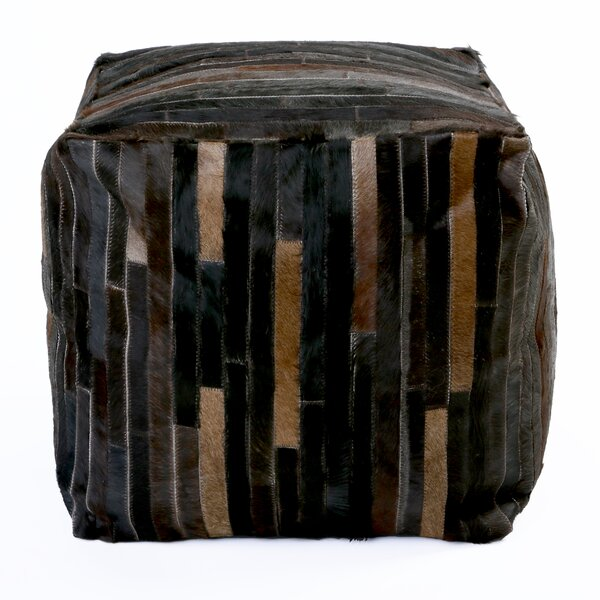 Patchwork Leather Pouf by Best Home Fashion, Inc.