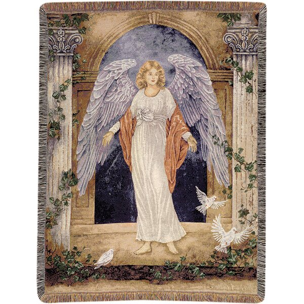 Guardian Angel Tapestry Cotton Throw by Manual Woodworkers & Weavers