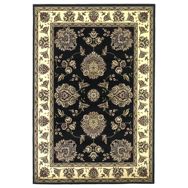 Bellville Black/Ivory Floral Mahal Area Rug by Charlton Home