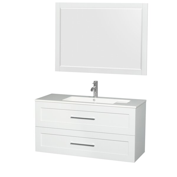 Olivia 47 Single Glossy White Bathroom Vanity Set with Mirror by Wyndham Collection