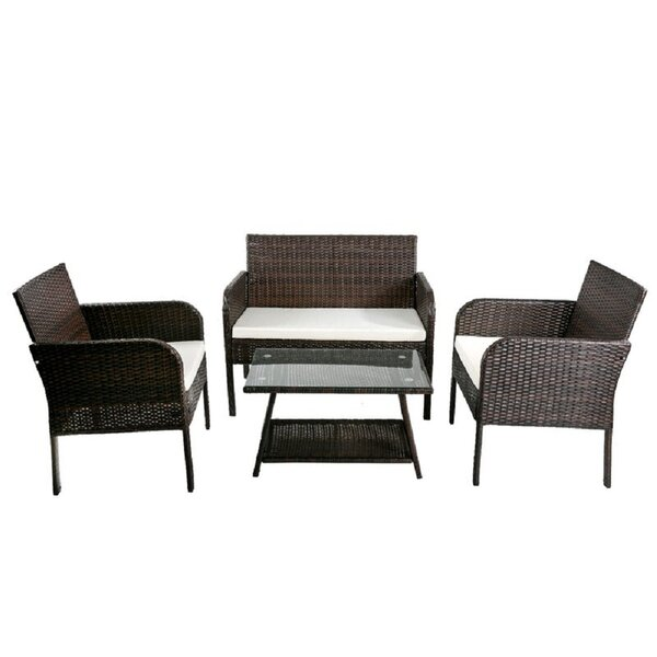 Tappen 4 Piece Rattan Sofa Seating Group with Cushions by Ebern Designs