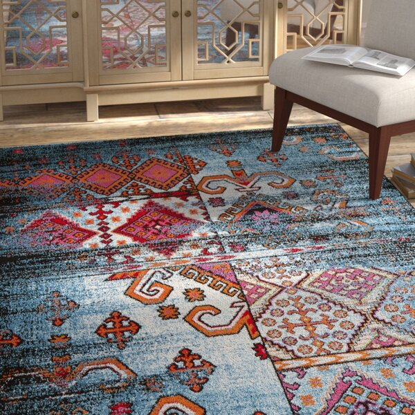 Amot Distressed Geometric Blue/Red Area Rug by Bloomsbury Market
