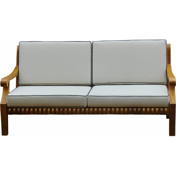 Zahra Teak Love Seat with Cushions by Bungalow Rose