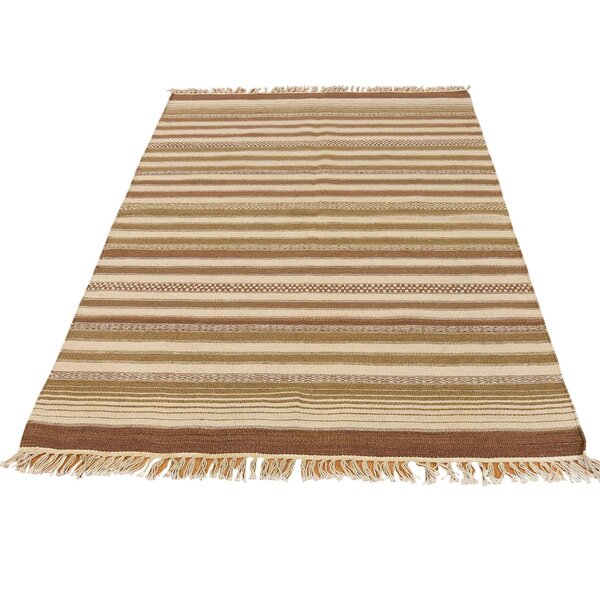 Durie Kilim Flat Weave Reversible Hand-Knotted Light Brown/Beige Area Rug by Bloomsbury Market