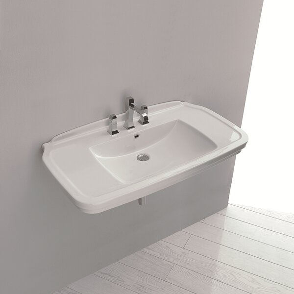 Nova Ceramic 40 Wall Mount Bathroom Sink with Overflow by WS Bath Collections