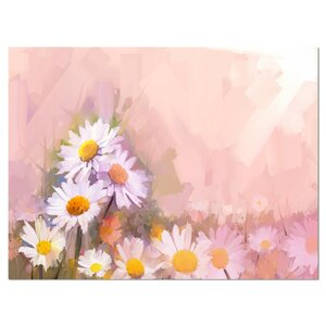 'Gerbera Flowers on Soft Color Back' Painting Print on Wrapped Canvas by Design Art
