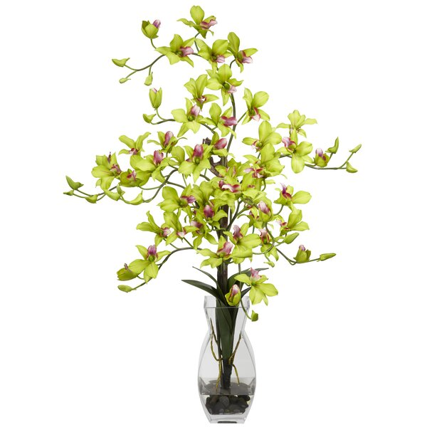 Dendrobium with Vase Silk Floral Arrangements in Green by Nearly Natural