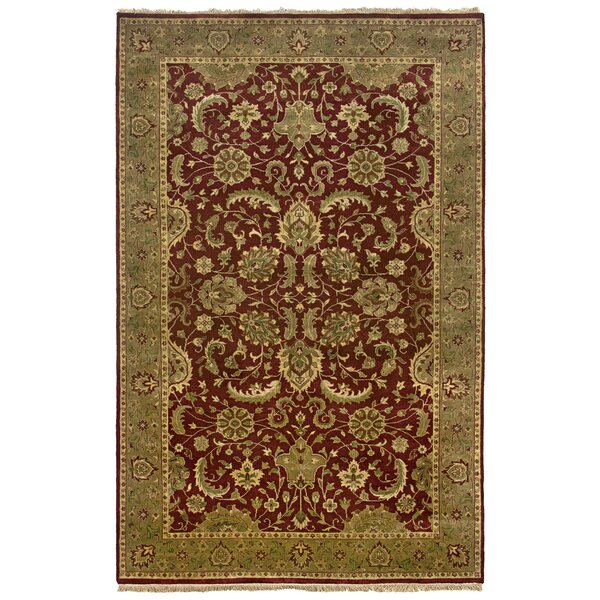 Vita Hand-Knotted Burgundy Area Rug by Meridian Rugmakers