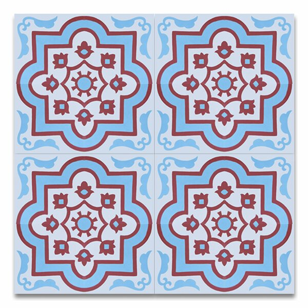Taza 8 x 8 Cement Field Tile in Blue/White by Moroccan Mosaic