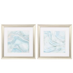 'Blue Mineral' 2 Piece Framed Painting Print Set by Propac Images