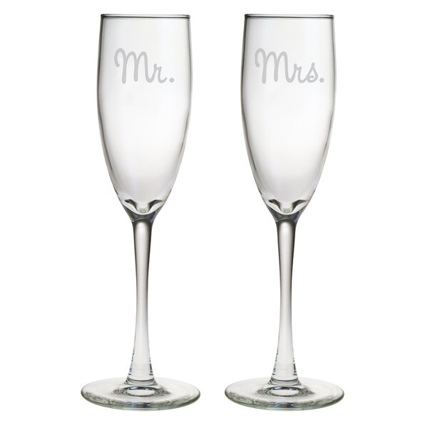Mr. & Mrs. Champagne Flute (Set of 2) by Susquehanna Glass
