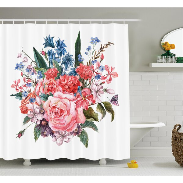 Norman Bouquet of Garden Mountain Flowers With Roses Daisises Buds and Leaves Print Shower Curtain by Winston Porter