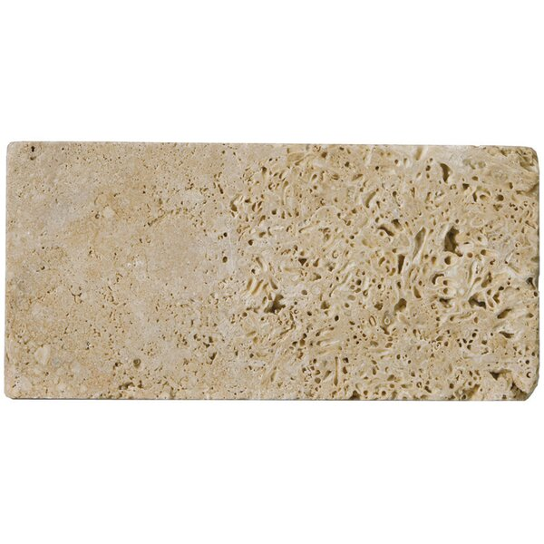 Travertine 3 x 6 Subway Tile in Unfilled Tumbled Mocha by Emser Tile