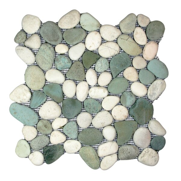 Ganges Random Sized Natural Stone Mosaic Tile in Sea Green/White by CNK Tile