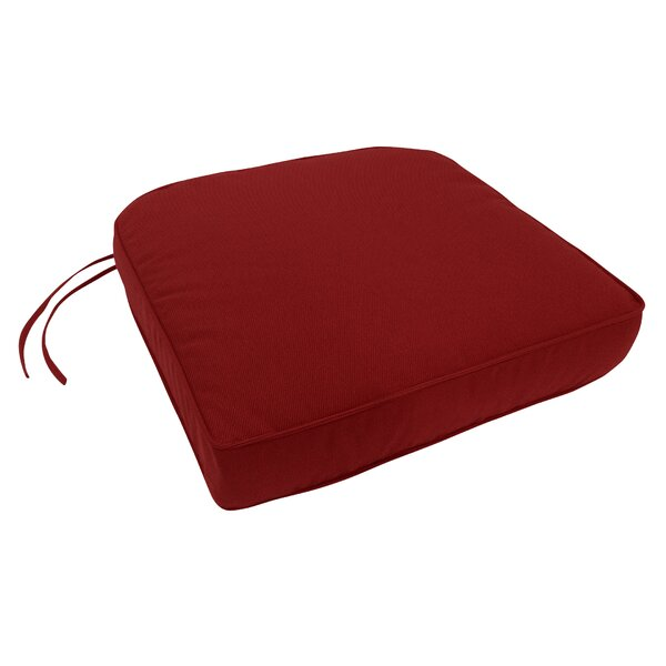 Double-Piped Indoor/Outdoor Sunbrella Contour Chair Cushion with Ties and Zipper by Three Posts