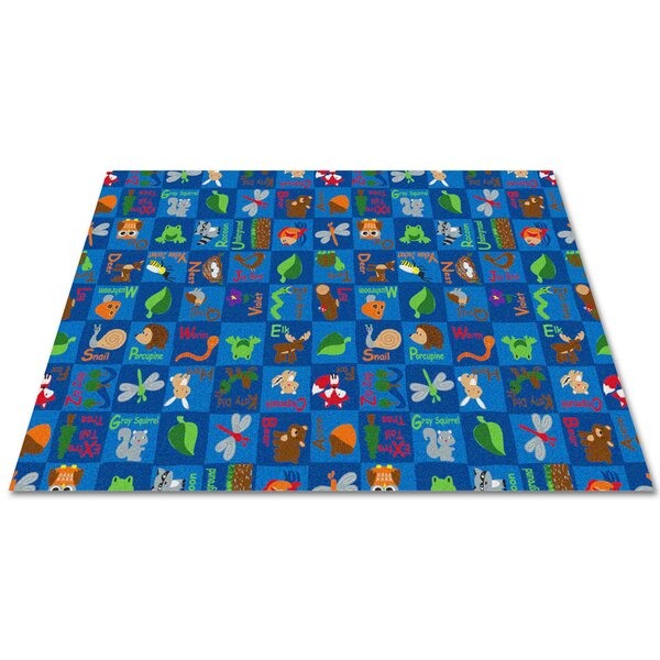 Animals In The Forest Blue Area Rug by Kid Carpet