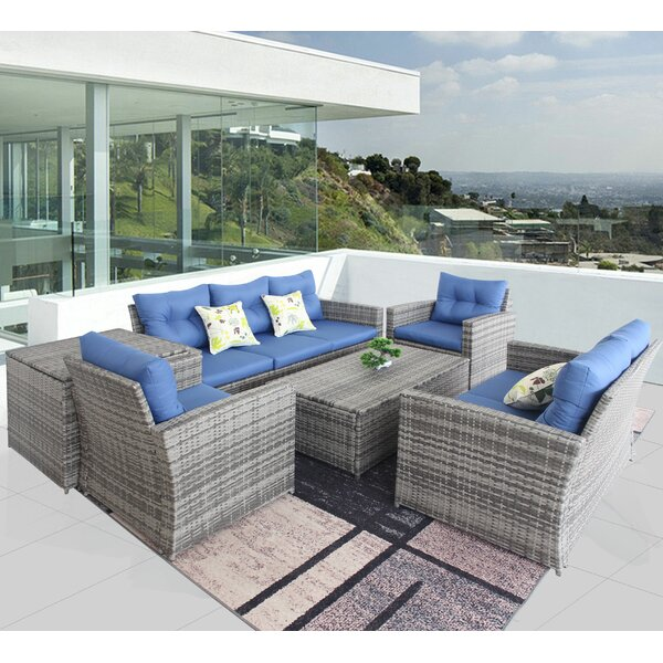 Adaleyza 6 Piece Rattan Sofa Seating Group with Cushions