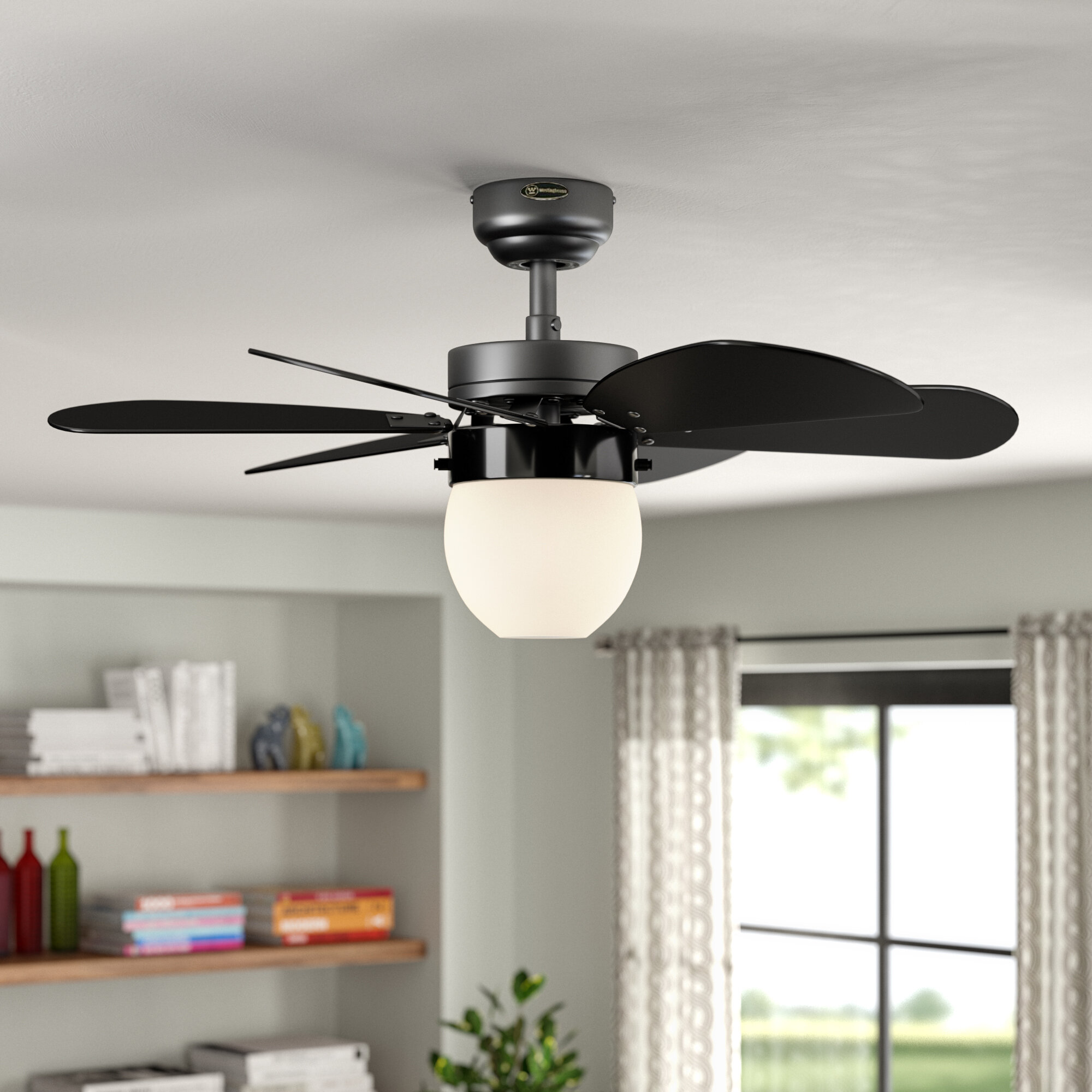 How to Install a Ceiling Fan | Wayfair Installing Ceiling Fan Pink Wire on installing cieling fan, installing a ceiling light box without a previous, installing wall fan, installing kitchen fan, installing crown molding, install fan, installing air conditioning, installing outdoor fan,