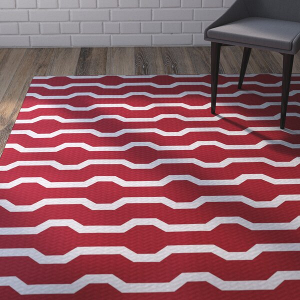 Uresti Decorative Holiday Geometric Print Red Woven Indoor/Outdoor Area Rug by Wrought Studio