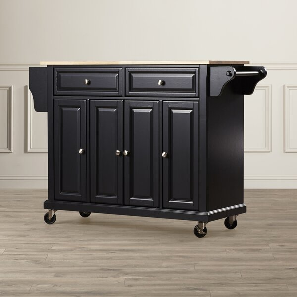 Hedon Kitchen Cart with Solid Wood Top by Three Posts
